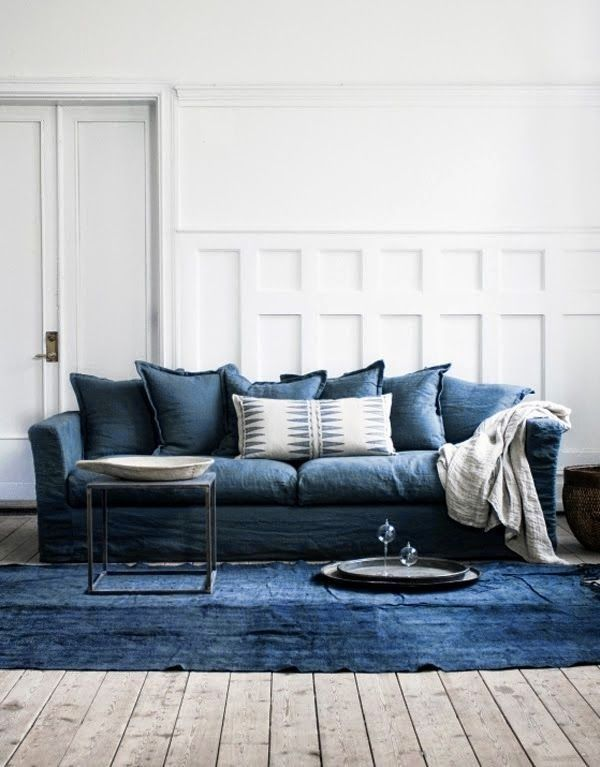 Current Obsessions Going Indigo Remodelista Blue Couch Living Room Blue Couch Living Living Room Sofa