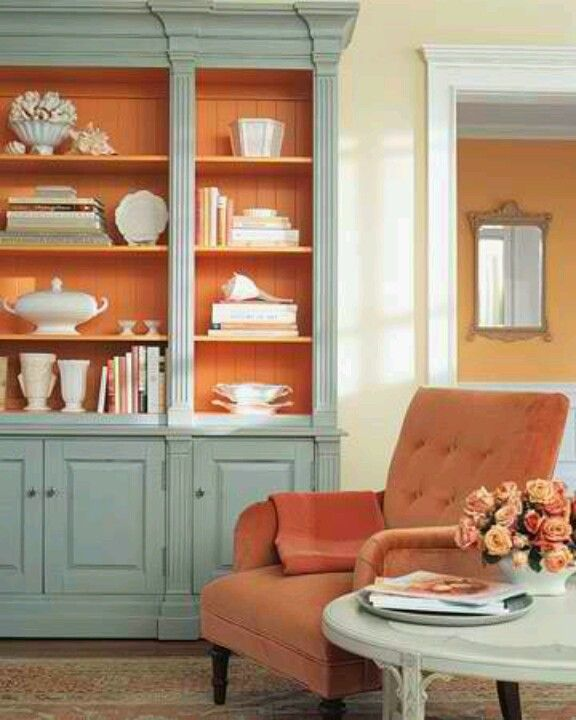 Teal And Red Yellow Orange Kitchen: Teal & Orange Pretty Painted Cabinet...this Is Kind Of A