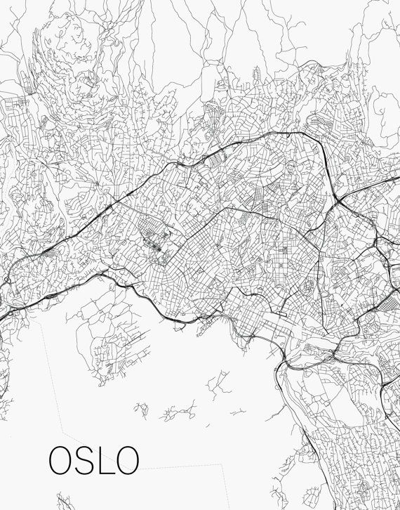 Oslo street map print ny maps black and white city poster oslo street map print ny maps black and white city poster norway minimal gumiabroncs Images