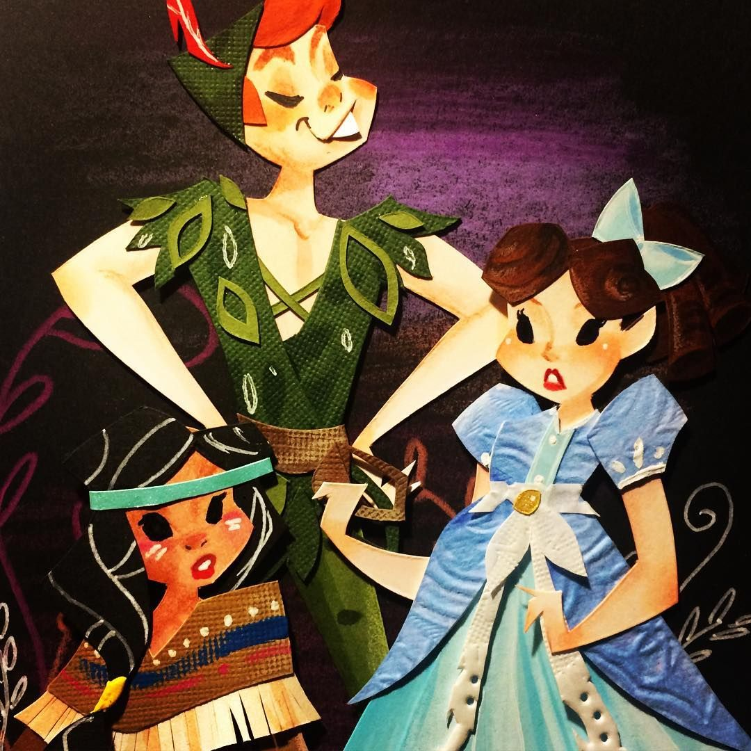 The gang's all here✨#ryanwriller #art #artist #peterpan #tigerlily #wendydarling #neverland #wherestink #paperart #paperartist #color #cutpaper #myart #disneyinspired