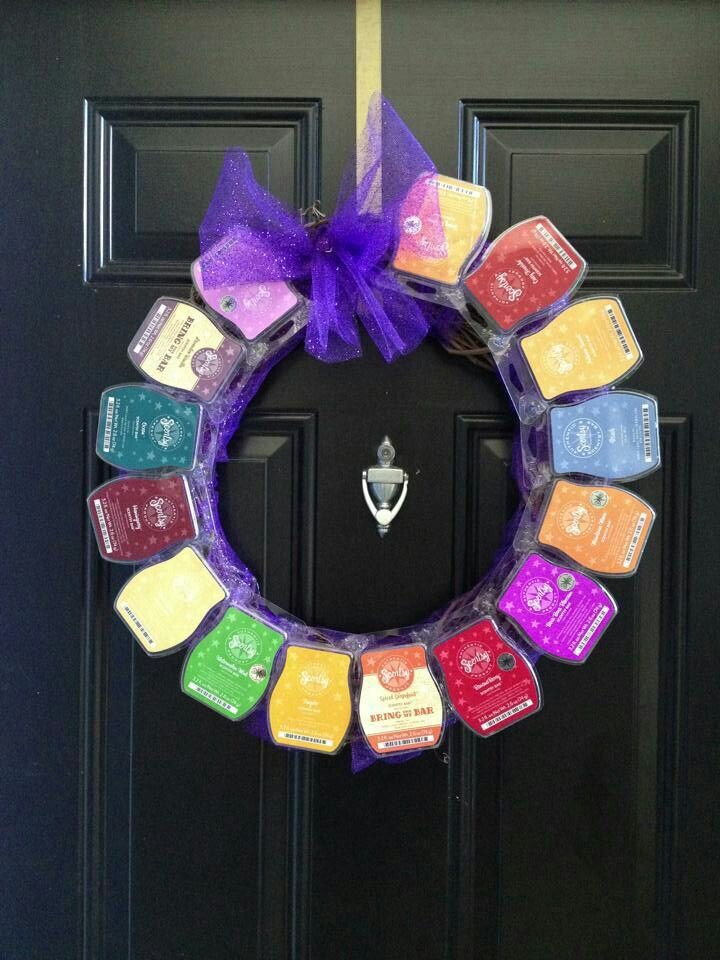 homemade wreath from recycled scentsy bar containers