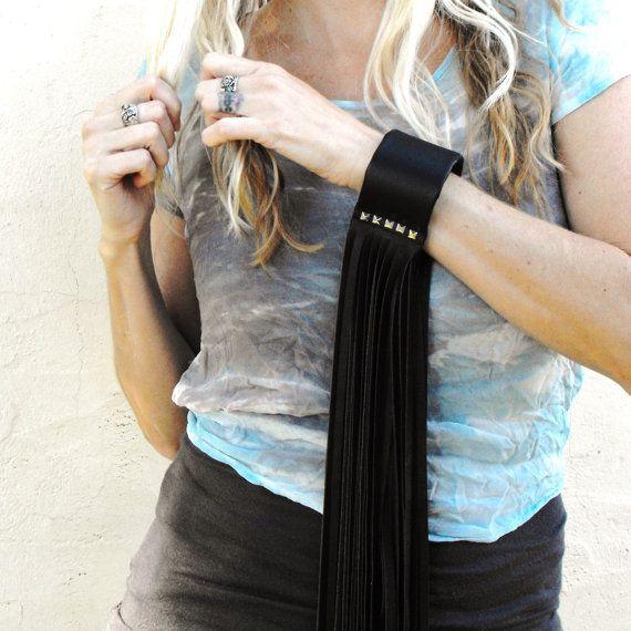 Fringed black leather cuff bracelet long leather by LiziRose