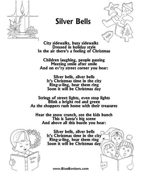 silver bells lyrics   Silver Bells : Free Printable Christmas Carol Lyrics Sheets : Favorite ...