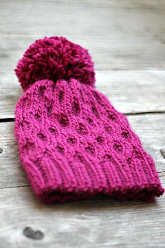 Knitted hat women hat winter accessories hat honeycomb fuchsia pink hat  winter hat 802d30438d4