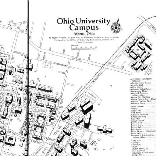 Athens Campus Map.Ohio University Campus Map 1976 1977 Ohio University Archives