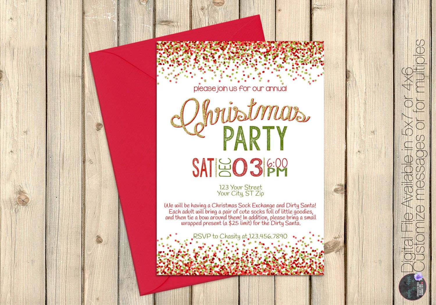 Holiday Party Invitation Red Green e birthday wishes
