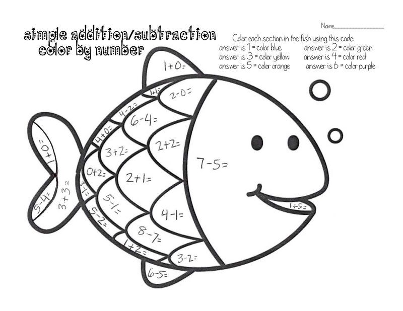 Easy Fun Fish Worksheets For Kids Color By Number Math Coloring, Math  Coloring Worksheets, Kindergarten Addition Worksheets