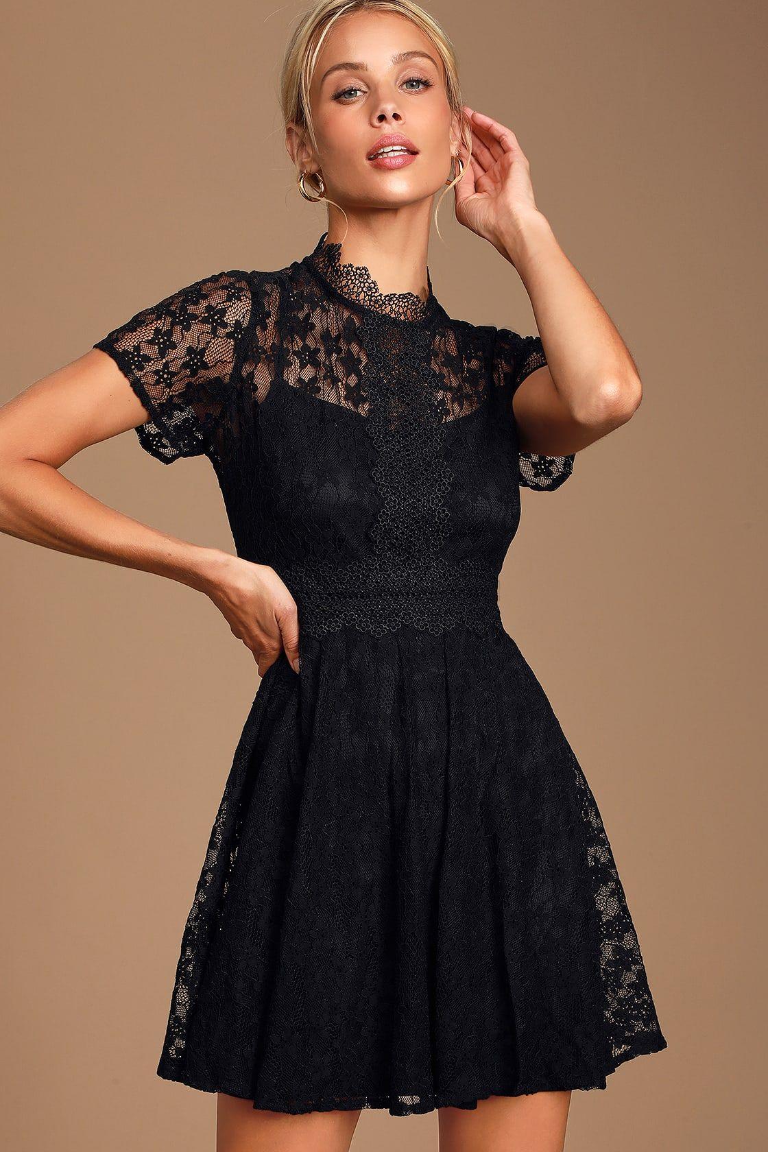 Clique black lace short sleeve mock neck skater dress