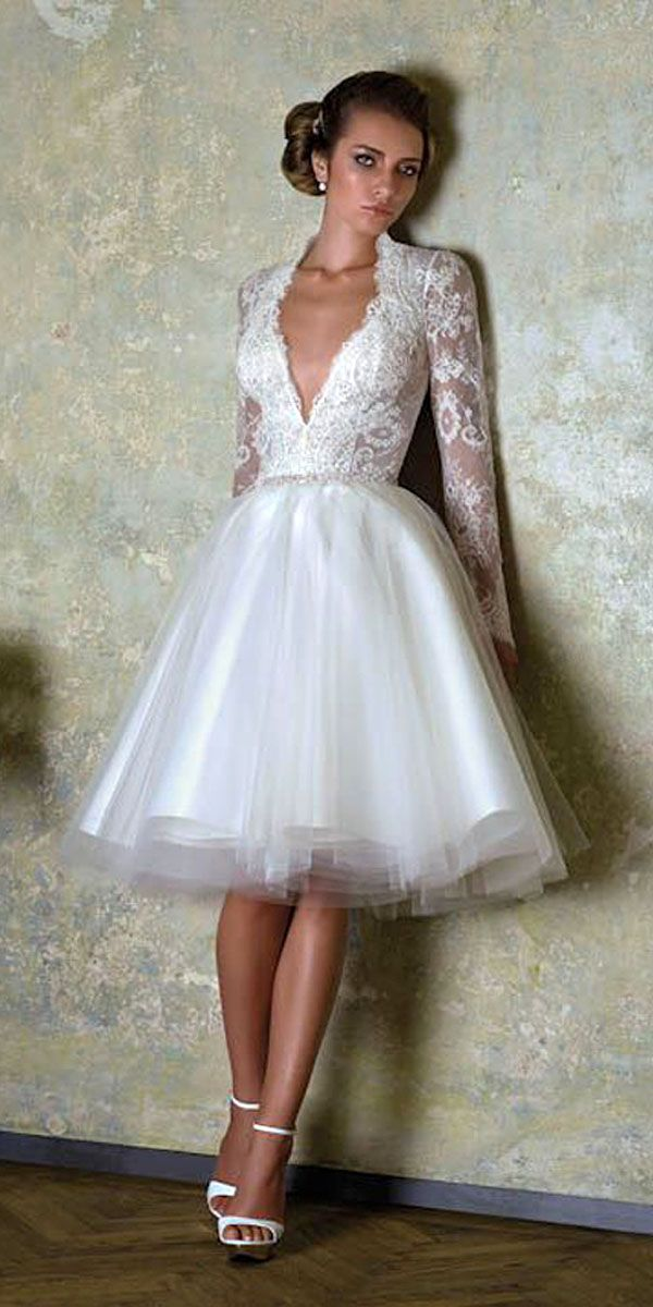 18 Amazing Short Wedding Dresses For Petite Brides ❤ Short wedding dresses are more and more gaining popularity and they are so comfortable for the bride. See more: http://www.weddingforward.com/short-wedding-dresses/ #wedding #dresses #short
