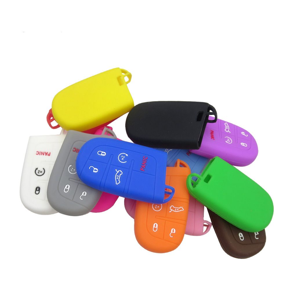 Dodge Chrysler Jeep 5 Button Silicone Smart Key Remote Fob Cover