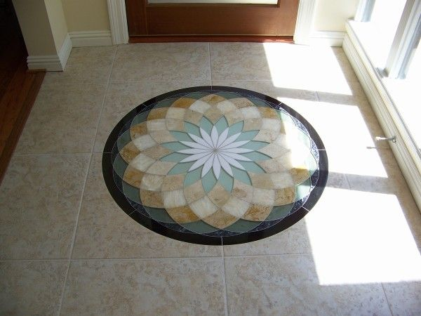 Flooring Wondrous Mosaic Tile Entryway Designs For Ceramic Tile Flooring  Closed To Large Glass Windows Toward Frosted Glass Entry Doors Mounted On  Cream ...