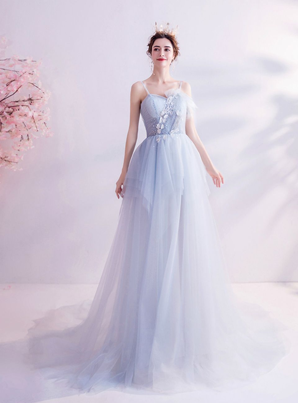 In Stock Ship In 48 Hours Light Blue Tulle Spaghetti Straps Prom Dress Prom Dresses Spaghetti Strap Prom Dress Straps Prom Dresses [ 1297 x 960 Pixel ]