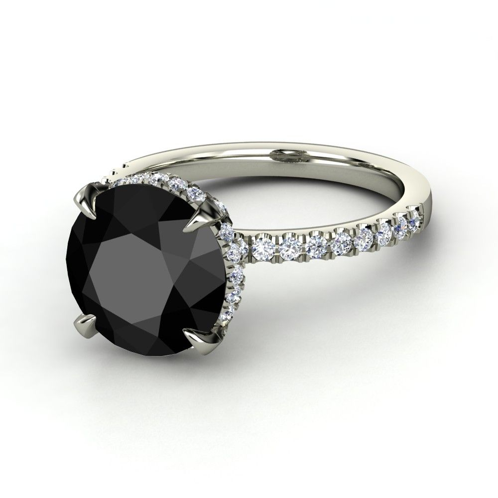 5ct Round Black Diamond Ring With Diamond Accents As Worn By