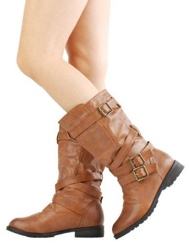 6c0aba3a2bf2 £29.99 Shoehorne Tina-13 - Womens Chestnut Brown Mid Calf Buckle Biker  Riding Flat Boots 1 inch heel Army - Avail in Ladies Size 3-8 UK  Amazon.co. uk  Shoes ...