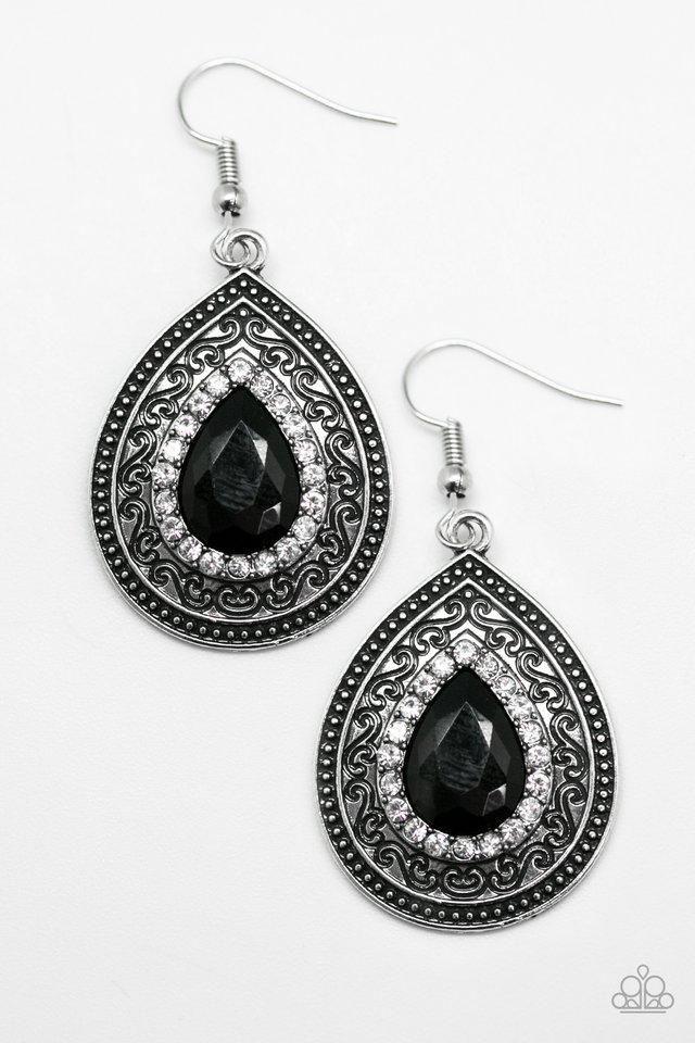 Paparazzi Hy Wife Life Black Gem Rhinestones Filigree Silver Tone Earrings