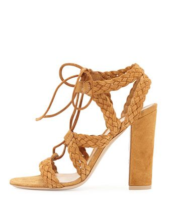 Gianvito Rossi Suede Braided Lace-Up Sandal, Almond