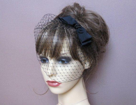 Black 50/'s Pillbox Hat with Birdcage Veil
