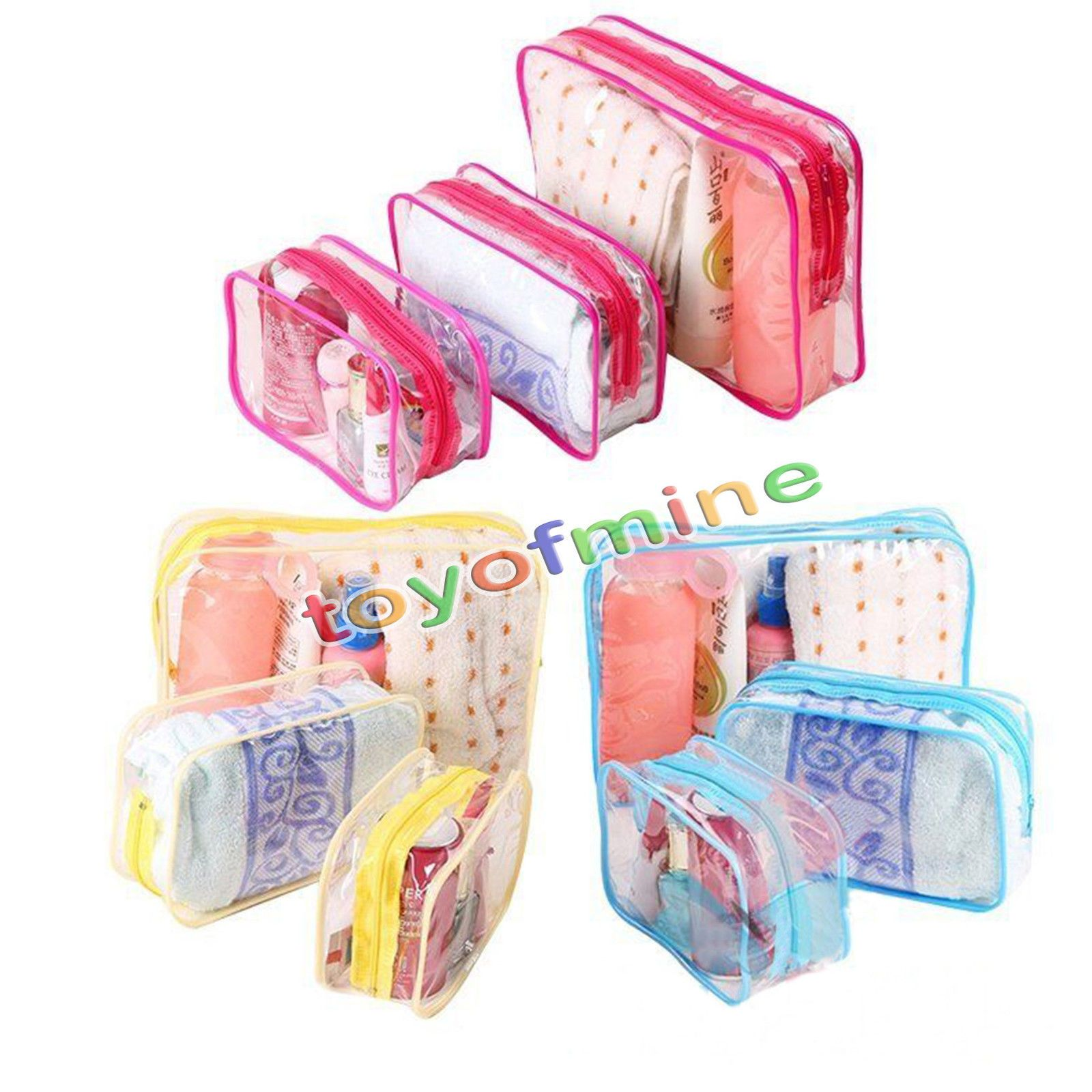 1c49dbaee3 3 Piece Cosmetic Makeup Toiletry Clear Pvc Travel Wash Bag Holder Pouch Set  Kit