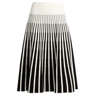 Tomas Maier Stripe-intarsia fluted skirt