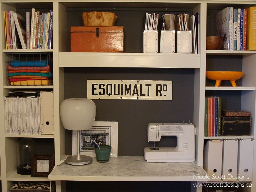Billy Bookcase Desk: Sewing Table Office Billy Bookcase Hack Marble Tile DIY