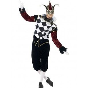 Become a dark jester with your new Venetian Harlequin costume!