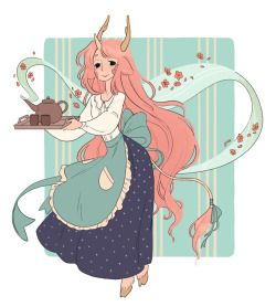 strangelykatie:  A Minette with some tea for you! I'm currently trying to develop a style to use in the Tea Dragons comic - I think I'm getting close! (I'm very sorry about outstanding messages, I'll do my best to get back to everyone as soon as I can!)