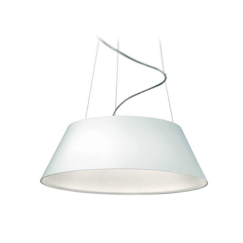 Modern LED Drum Pendant Light In White Finish At Destination Lighting