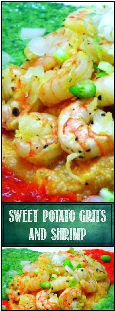 "Sweet Potato Grits and Shrimp ala Bobby Flay... SO much to this... the pin includes recipes for BOTH a sweet Onion ""Heavenly"" Sauce and a red Chili ""Hellish"" Sauce along with a FANTASTIC Grits recipe flavored with sweet potatoes and an Adobe sauce. YOU CAN DO THIS, it has become a favorite in our home and perfect for LENT!"