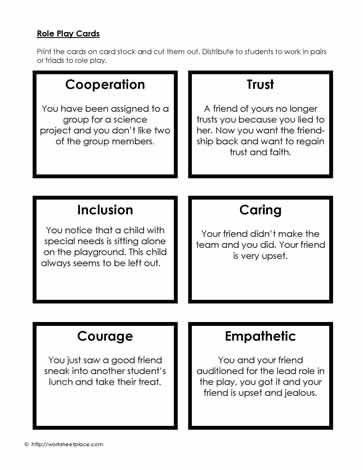 social skills role play cards many other worksheets on this site that can also be used by. Black Bedroom Furniture Sets. Home Design Ideas