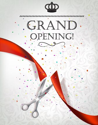 Vector Big Opening Invitation Cards Set 06 Grand Opening