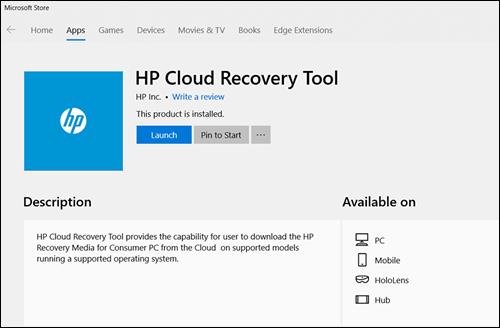 Hp Consumer Pcs Using The Hp Cloud Recovery Tool Windows 10 7