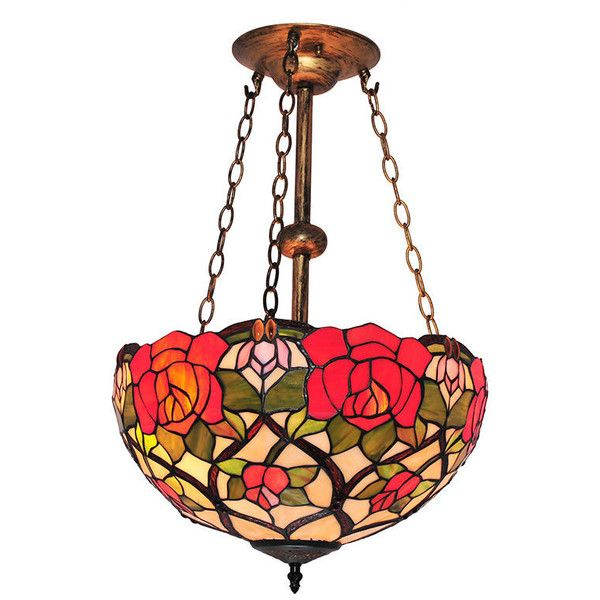 Tiffany Style Roses And Leaves Pattern Stained Glass Chandelier