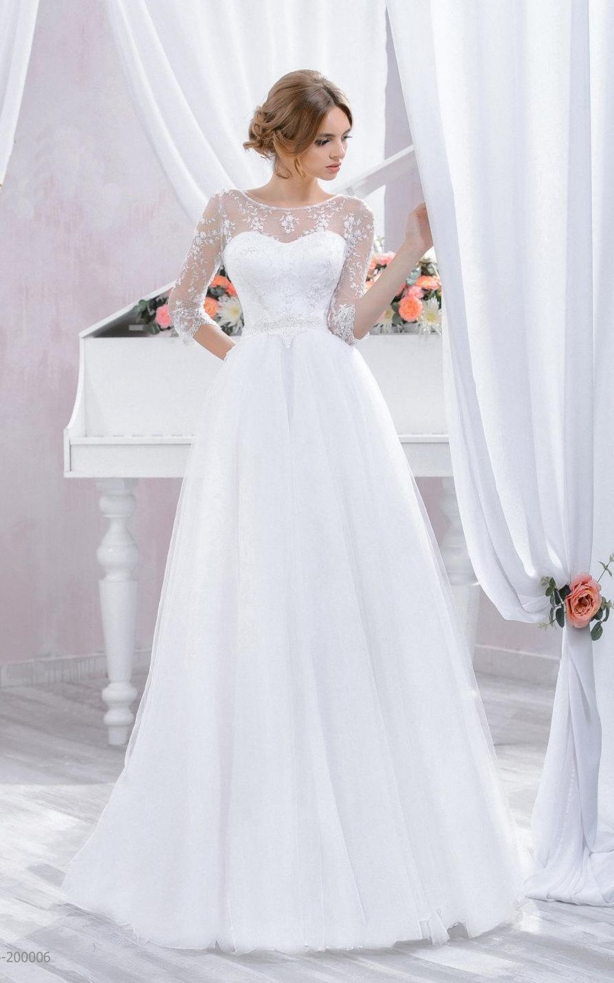 Vintage wedding dresses with sleeves   Sleeve Tulle Lace Dress With Beading  Wedding dress princess