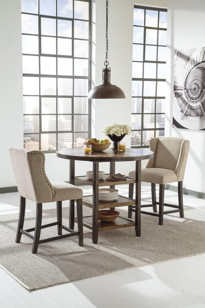 Moriann 3pc Round Counter Height Table Set