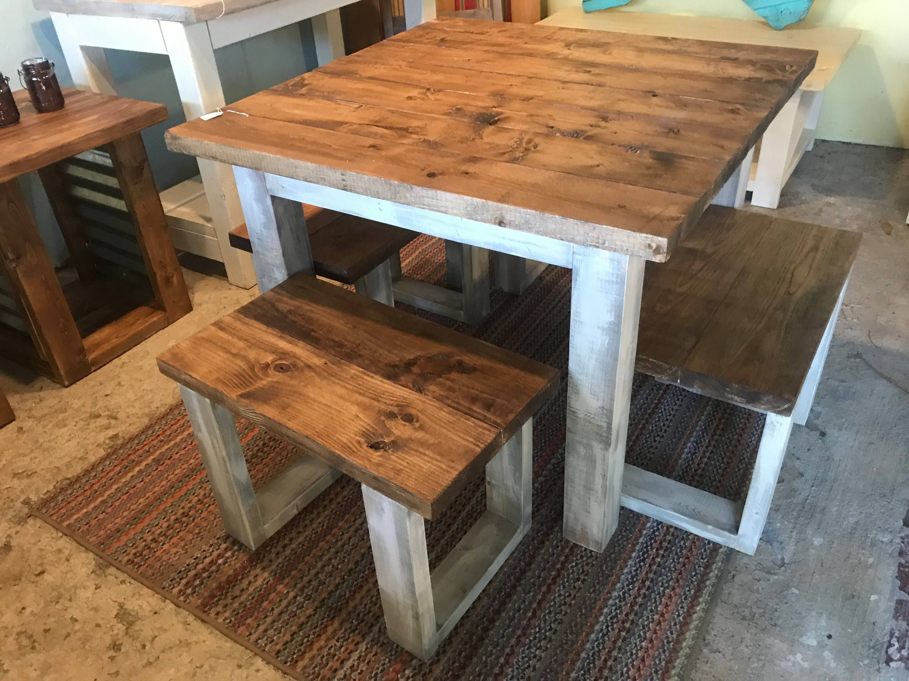 Square Farmhouse Table Rustic Farmhouse Table Dining Set With Stools Table With Short Benches Provincial Brown Top Gray White Wash Base Square Farmhouse Table Square Wood Dining Tables Dining Table Small