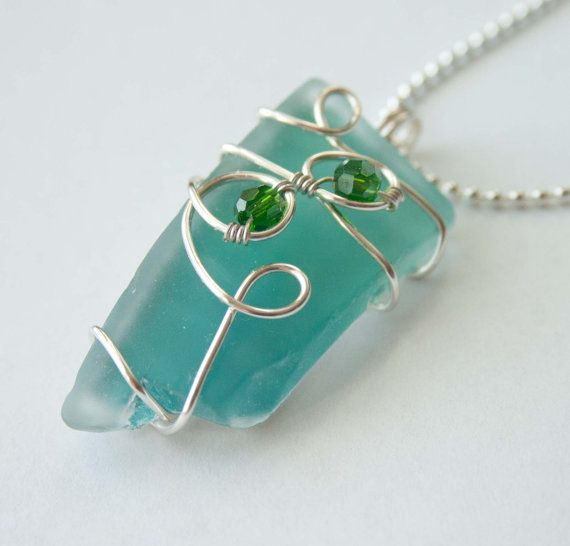 wire wrapped recycled glass pendant. Wire Wrapped Recycled Glass Pendant Black Friday By Mlwdesigns, $20.00 E