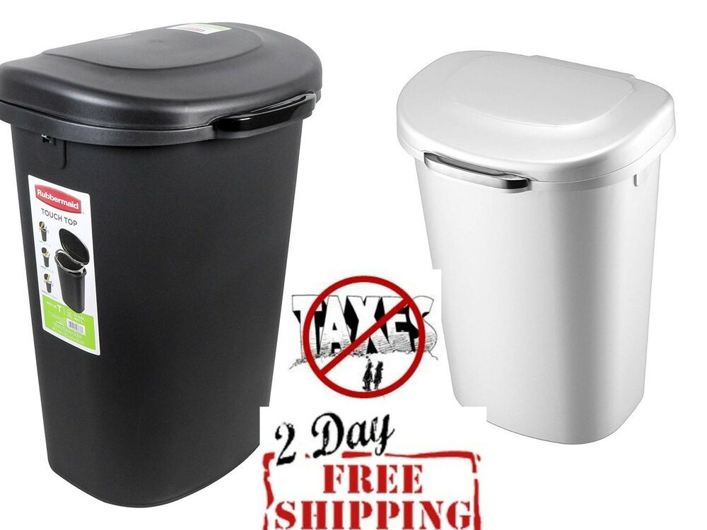 Touchtop Lid Trash Can For Home Kitchen Bathroom Garbage 13 Gallon White Black Trash Can Kitchen Trash Cans Garbage Can Storage