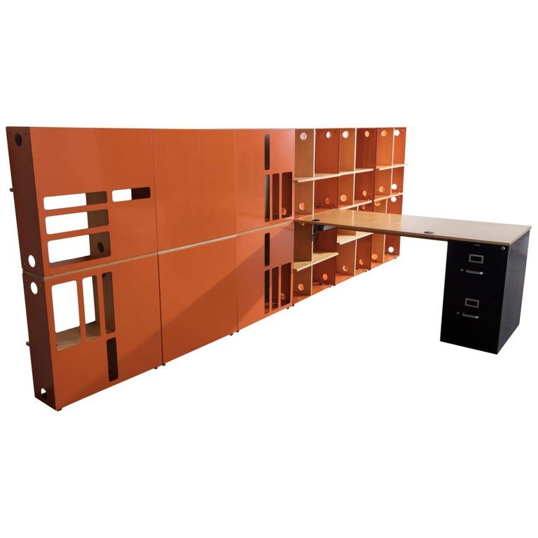 Ali Tayar Shelf / Wall Cabinet - Icon Shelving Wall Built- Work Station 1999 American Modern Metal images