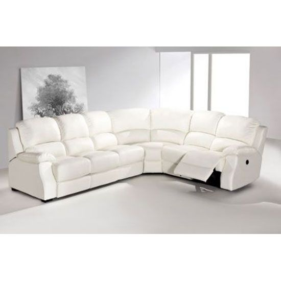 Enjoyable Esprit White Leather Corner Sofa With Electric Machost Co Dining Chair Design Ideas Machostcouk