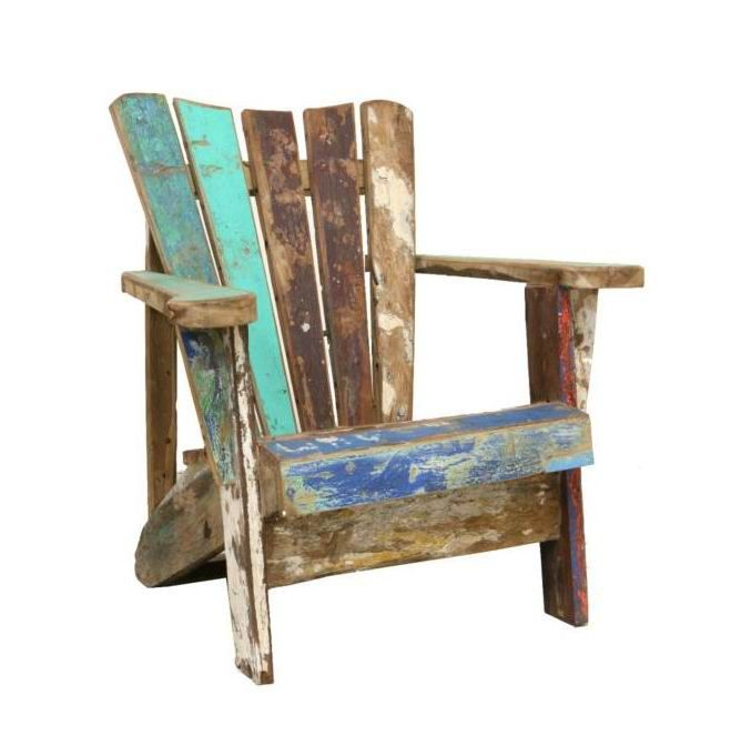 adirondack chair from recycled boatwood patio pinterest deck