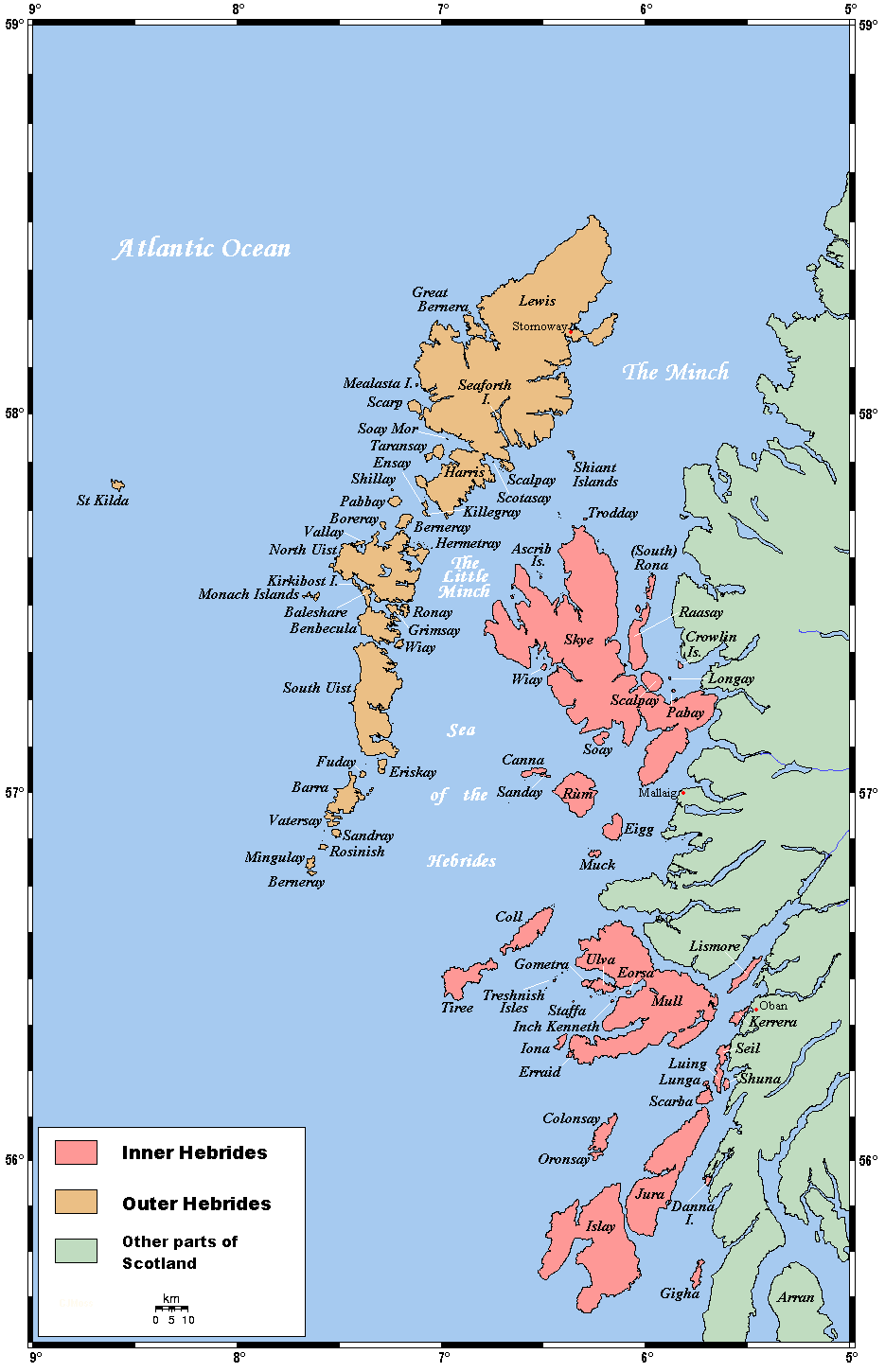 Inner Hebrides Map Map of the Inner and Outer Hebrides off of the west coast of