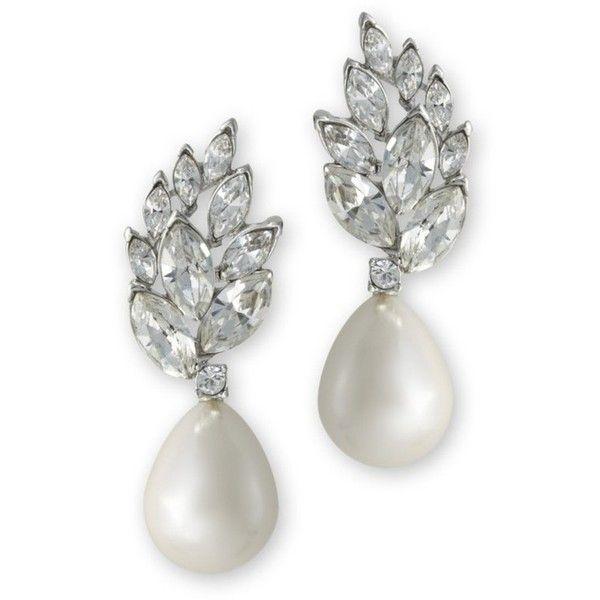 Kenneth Jay Lane White Drop Pearl Teardrop Pierced Earring White 3sCT61C0v7