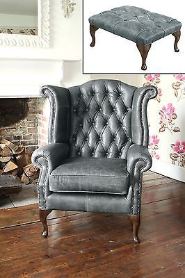 Superior Chesterfield Queen Anne Wingback Chair And Footstool In Vintage Grey Leather