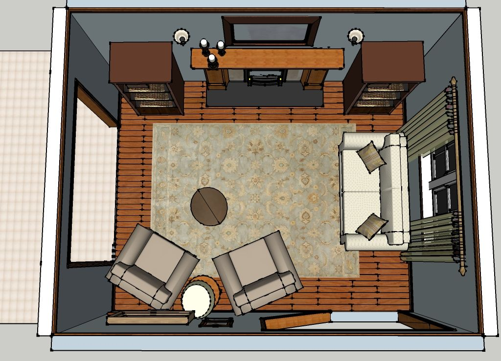 Top view of living room images for Best layout for small living room