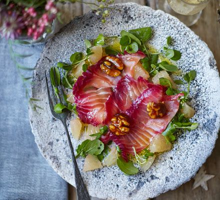 Beetroot cured salmon with citrus salad caramelised walnuts beetroot cured salmon with citrus salad caramelised walnuts recipe christmas starters citrus fruits and starters forumfinder Choice Image
