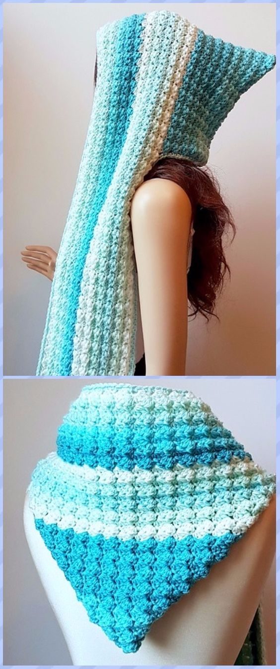 Crochet Faerie Mist Hooded Scarf Free Pattern | Gorros, Capuchas y ...
