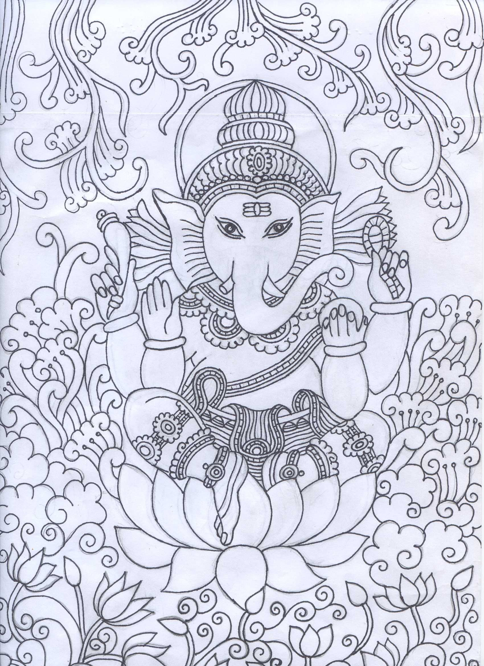 Ganesha mural pencil sketch