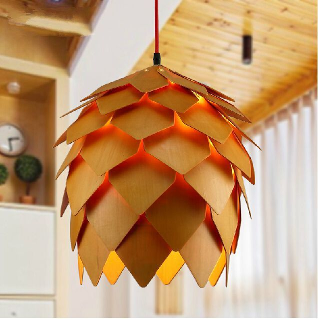 Pine cone pendant lamp modern creative wood pendant light wooden pine cone pendant lamp modern creative wood pendant light wooden pendant lighting european style restaurant bar mozeypictures Images