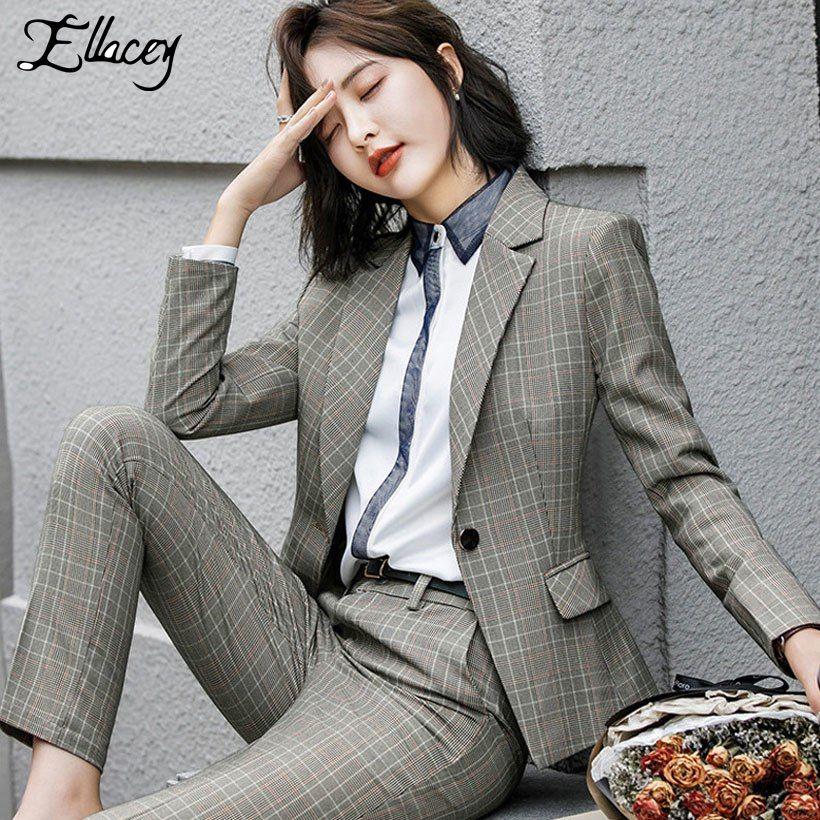 a26df4cf4bd72c 2018 Professional Suit Female Women's Business Pants Suits British Style  Plaid Uniform For Women Formal 2 Pieces Set