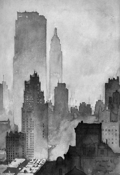 watercolor of NYC Skyline by John Held Jr. ( original  colour version :: http://pinterest.com/pin/105201341265583608/ )
